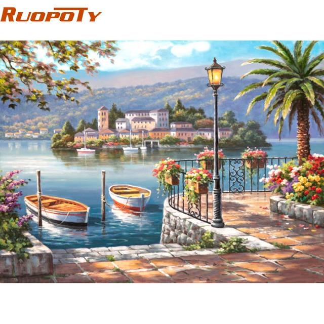 RUOPOTY marco lago barco paisaje DIY pintura por números Kits dibujo ...
