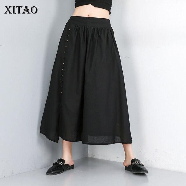 64dd89ee9 XITAO falda de corte lino con cuentas Corea nueva moda 2019 verano plisado  comercio exterior la frontera estilo WLD1429