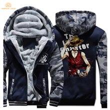Winter Warm Raglan Jackets One piece Luffy Print Harajuku Thicken Hoodies Men 2019 Fashion Mens Sweatshirts Casual Coats