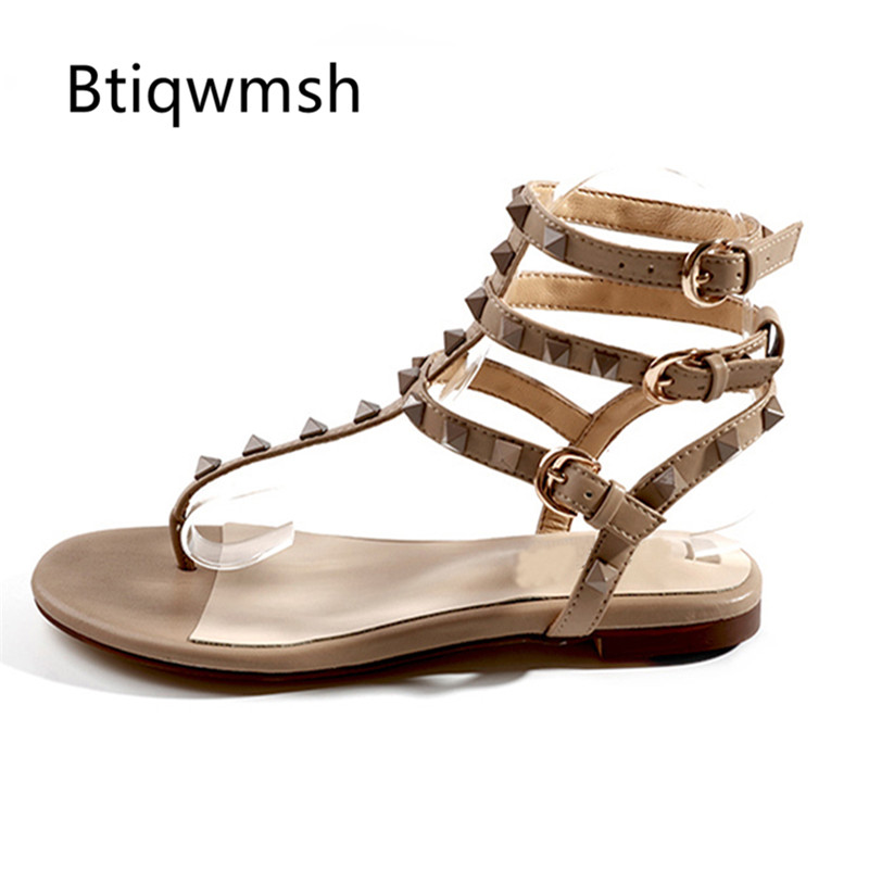 2019 Rivet gladiateur sandales femme tongs t strap chaussures plates femme mode chaussures de fête-in Sandales femme from Chaussures    1