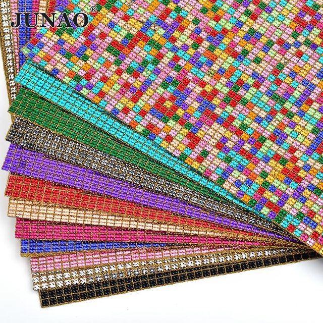 JUNAO 24 40cm Mix Color Resin Rhinestones Mesh Trim Bridal Appliques Crystals  Fabric Sheet Strass 8e4db1e0e497