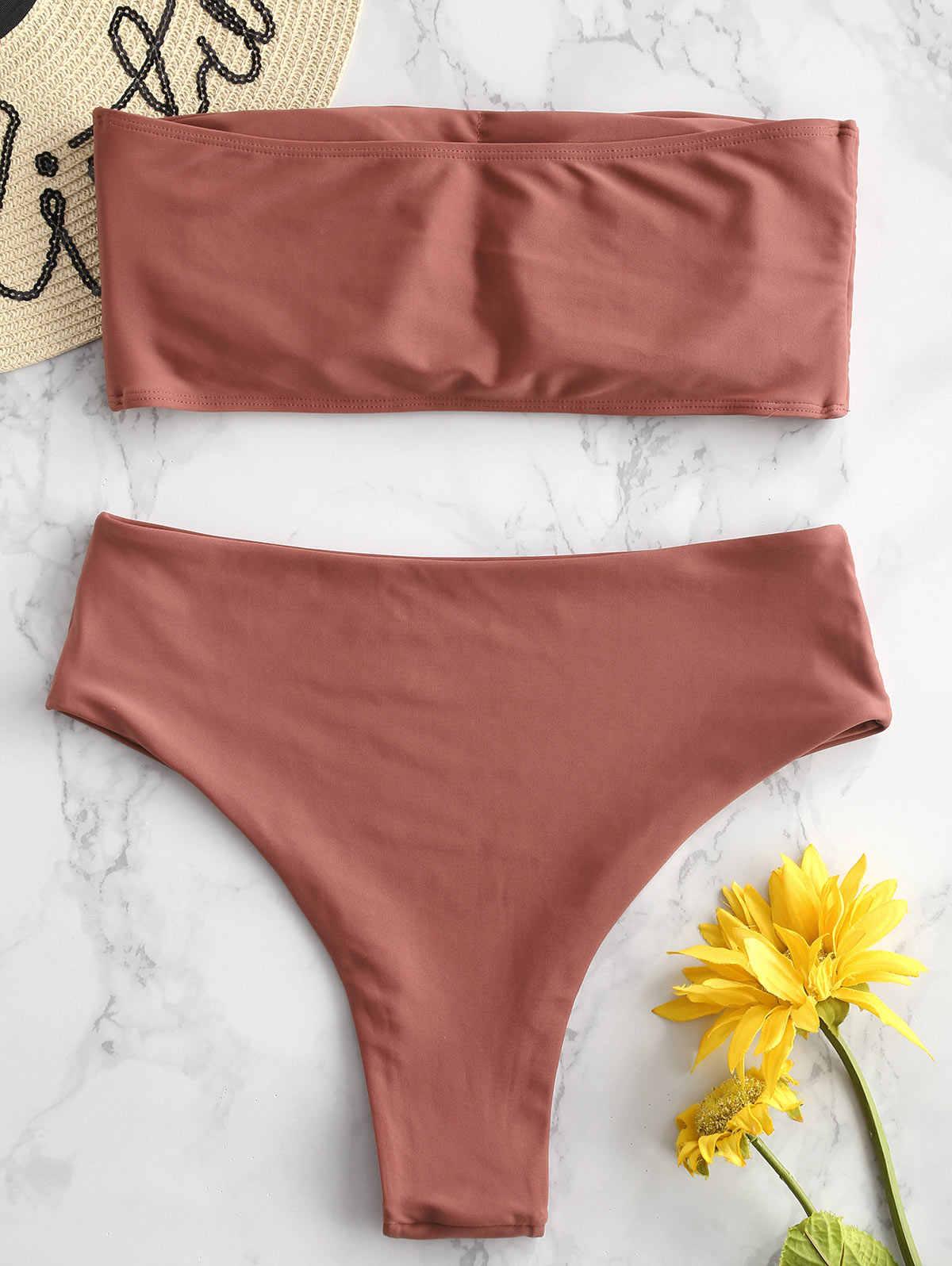 ZAFUL w stylu Boho liść drukuje lato kobiety Bikini zestaw bez ramiączek wyściełane na co dzień strój kąpielowy kobiet Bikini na plaży 2019 Mujer
