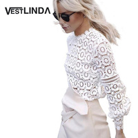 AZULINA Sexy White Floral Lace Hollow Out Crochet Top 2016 Vintage Women Blouse Shirt Long Sleeve