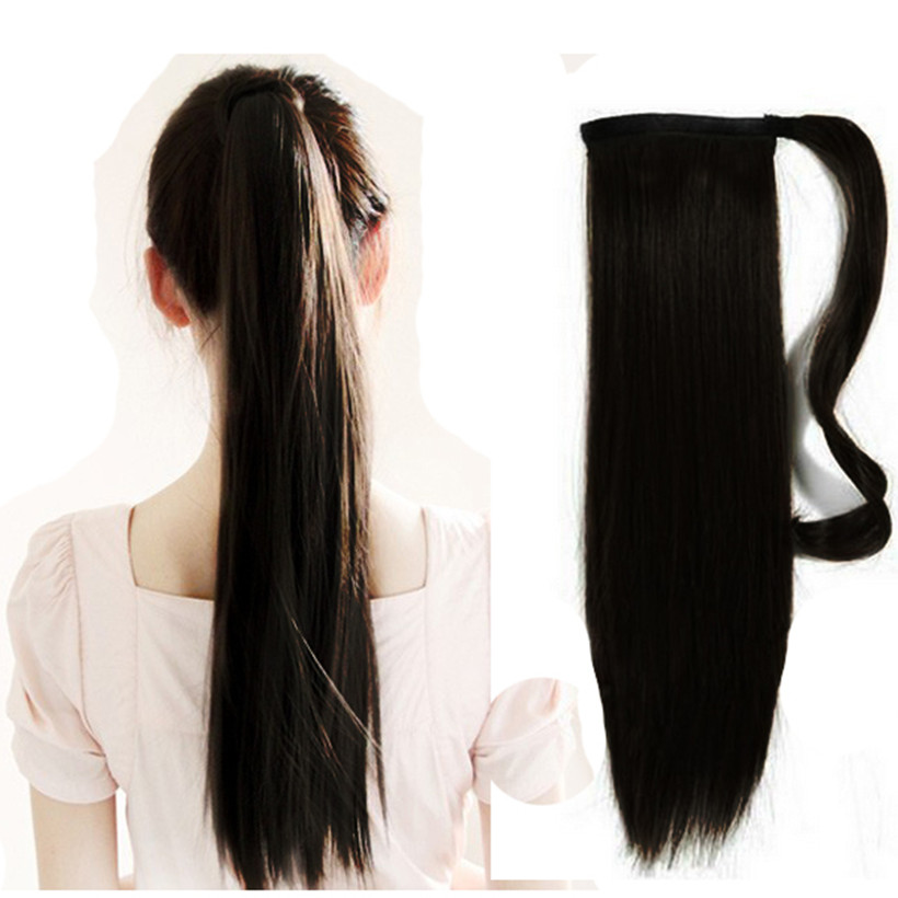 цена на Free Shipping 18 100% Natural Clip in Drawstring Ponytail Hair Extensions, Natural Color Straight Colas de Caballo Pelo Humano