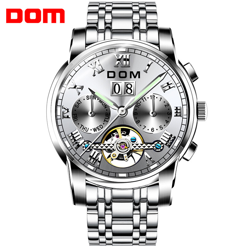 Men Watches DOM Brand Mechanical Sport Watch Waterproof Clock Mens Luxury Fashion Wristwatch Relogio Masculino M75D7M fashion winner watches mens self wind automatic mechanical watch auto date analog sport men wristwatch relogio masculino