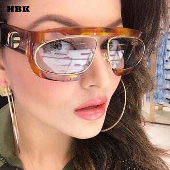 cc3c7bfd57 HBK Oversized Italia gafas De sol De lujo Mujer Transparente UV400  gradiente Retro moda Vintage clásico gafas Oculos De