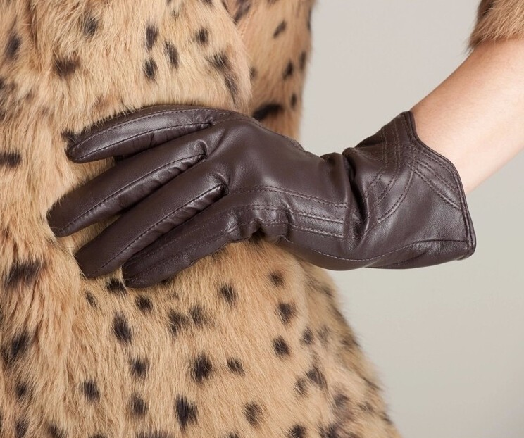 High Quality Women Genuine Sheepskin Winter Women Leather Gloves Lady knitting lined Warm Winter Mittens women gloves 42