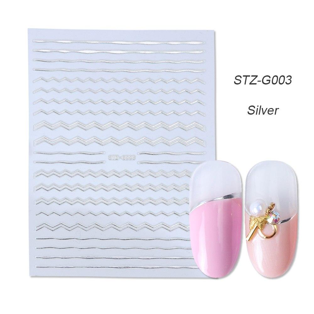 1 шт золотые Серебристые 3D наклейки для ногтей прямые изогнутые вкладыши полосы ленты обертывания геометрический дизайн ногтей украшения BESTZG001-013 - Цвет: STZ-G003 Silver