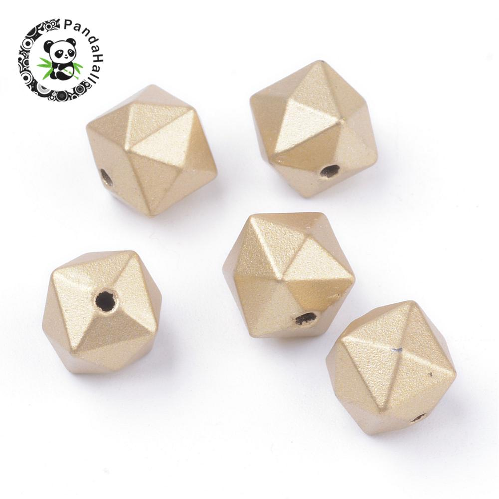 Matte Style Faceted Cube Hole: 1.5mm; About 930pcs/500g 10x10x9mm Purposeful Spray Painted Acrylic Beads Gold