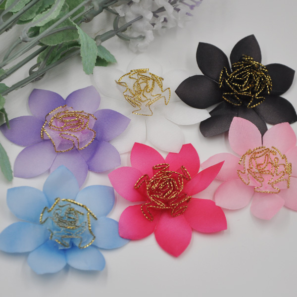 40pcs Mix Organza Ribbon Rose Flowers Bows Padded Felt Appliques Upick B259