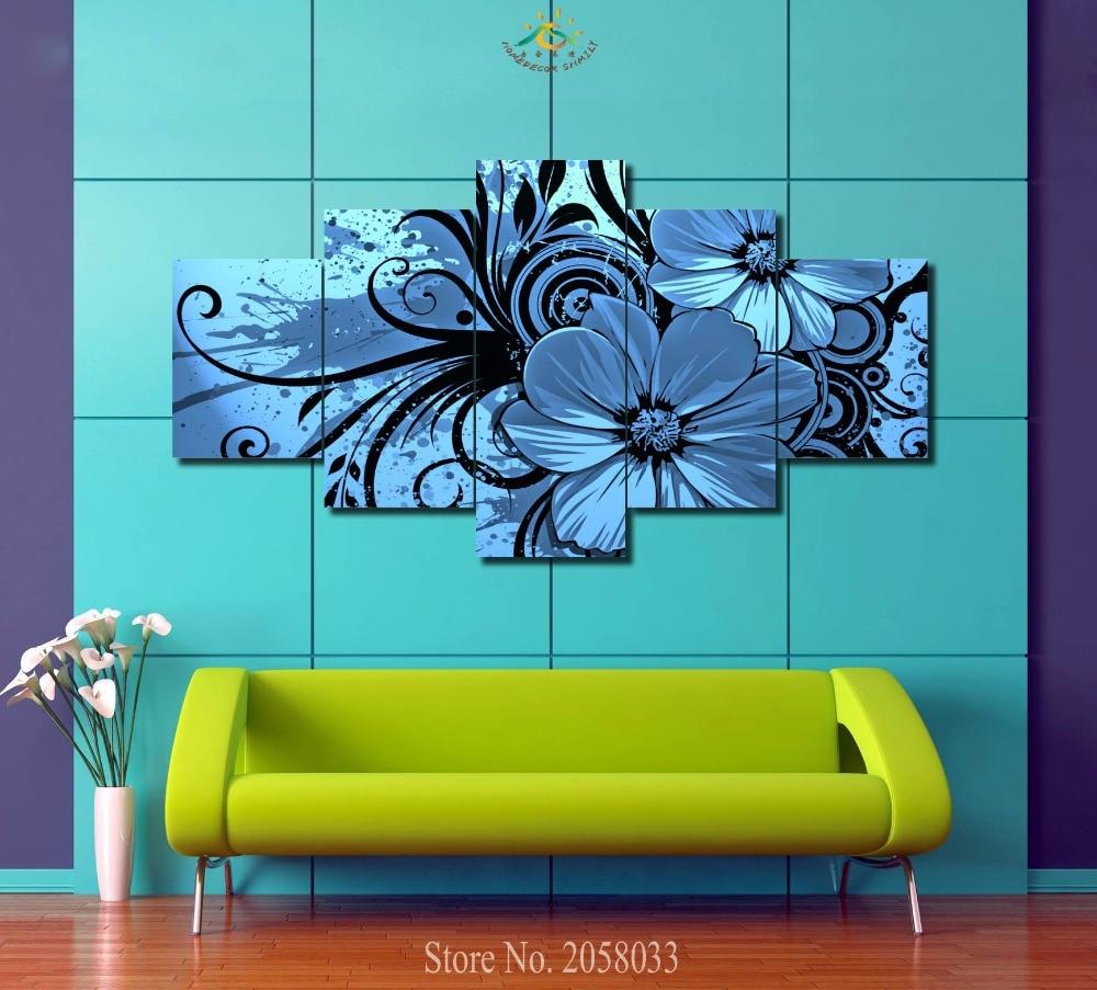 1 3 4 5 Blaue Abstrakte Blumen Moderne Wandmalerei Lila Rosa Blume Home
