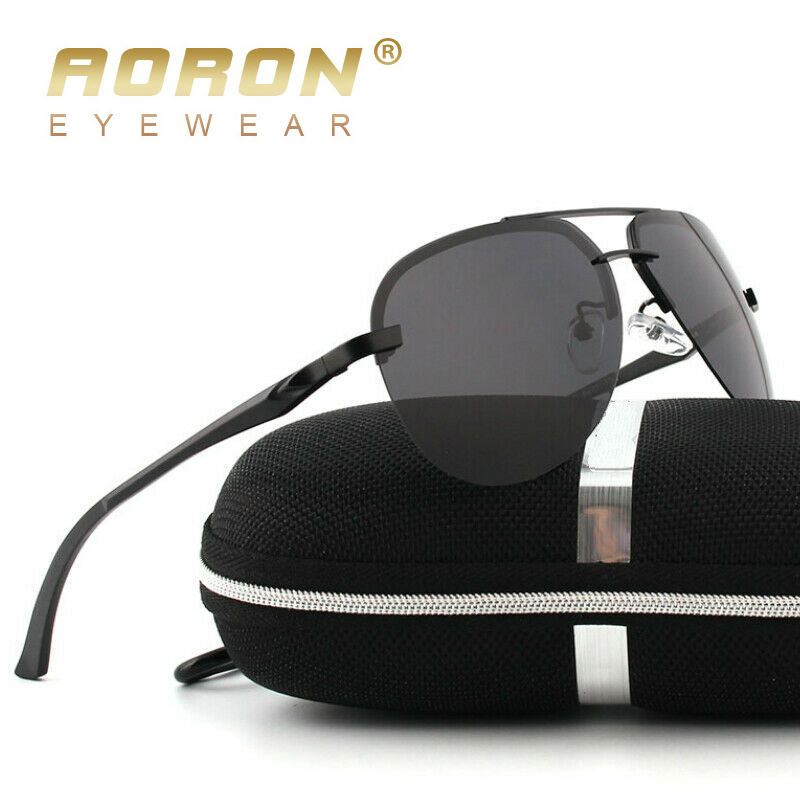 AORON Men Polarized Sunglasses Men Brand Design Sun Glasses  Aluminum Leg Mirror Lens Sunglasses For Men/women