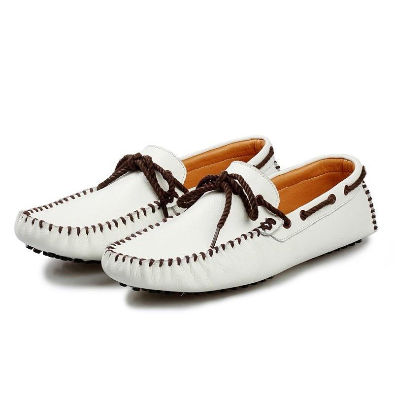 Cuerda de Los Hombres Mocasines de Cuero Genuino Suave Zapatos Del Barco Pisos P