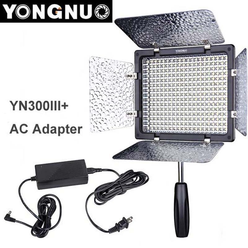 Yongnuo YN300 III YN-300 lIl 3200k-5500K CRI95+ Pro LED Video Light with Remote Control + AC DC Power Adapter for Canon Nikon цена 2017