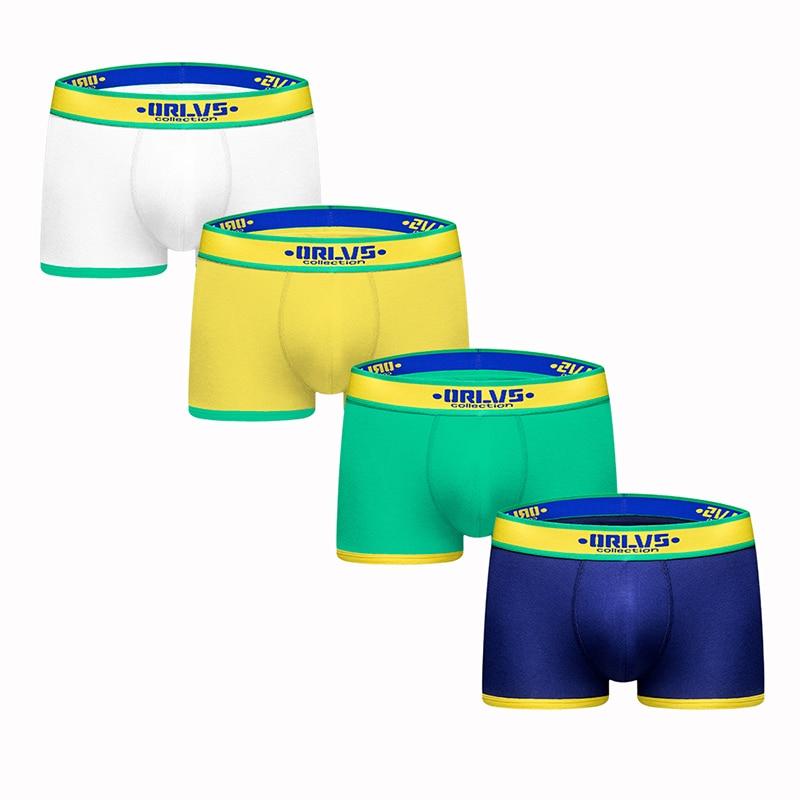 ORLVS 2019 Boxer Men Underwear 4Pcs/lot Masculina Mens Underwear Boxers Calzoncillos Boxer Homme Cuecas Male Underpants OR180