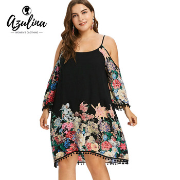 AZULINA Plus Size Cold Shoulder Floral Shift Dress Summer Spaghetti Strap Long Sleeve Women Dress Causal Big Size Ladies Clothes Платье