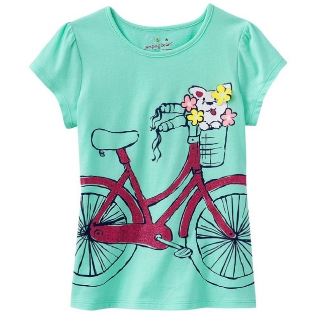 35bae5107616f Jumping Beans 2014 Summer Girls Short-Sleeved T-Shirts Blue With Bike  Fashion Children Clothes Baby Girls Tops 100% Cotton