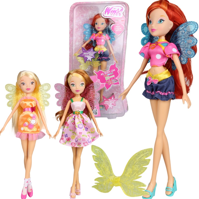 Colorful girl Winx Club Doll Beautiful girl Action Figures Winx Dolls with Exquisite Wing Classic Toys For Girls Gift exquisite colorful flowers and girl pattern removeable wall stickers