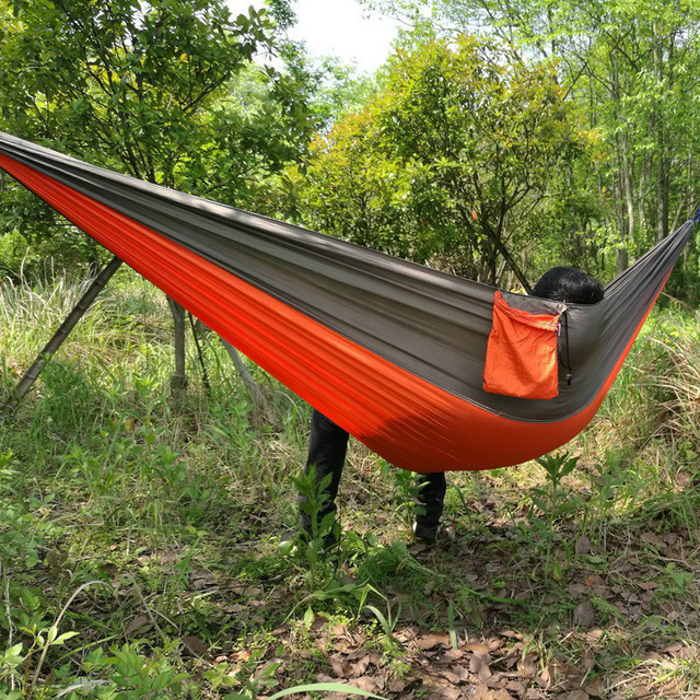 Medium image of hot selling double essential outdoor parachute cloth hammock camping hammock swing leisure riding