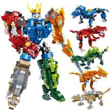 цена на Action Transformation Dinosaur Building Blocks DIY Robot Figures Block Toys Technic Building Blocks Toy For Children Kids Gift