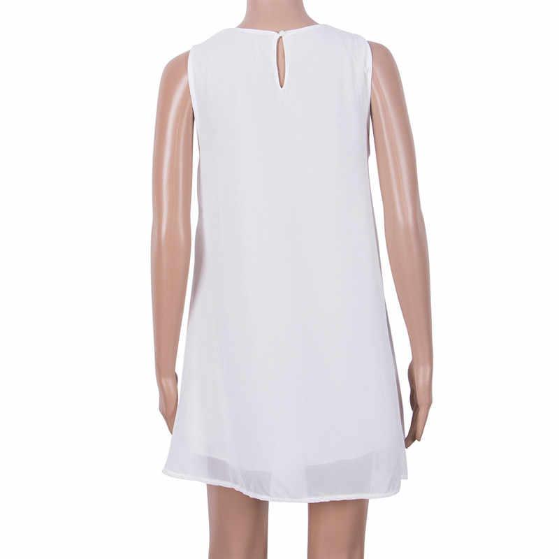 2019 décontracté Sundress dentelle sans manches robe d'été dames lâche plage BOHO court Mini évider blanc robe de soirée livraison directe