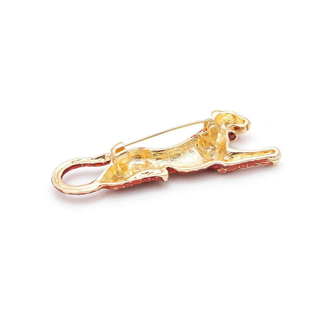 Cindy Xiang Merah Enamel Leopard Bros untuk Wanita Fashion Mewah Hidup Hewan Pin Baru Desain Mantel Aksesoris Tas Hadiah Perhiasan