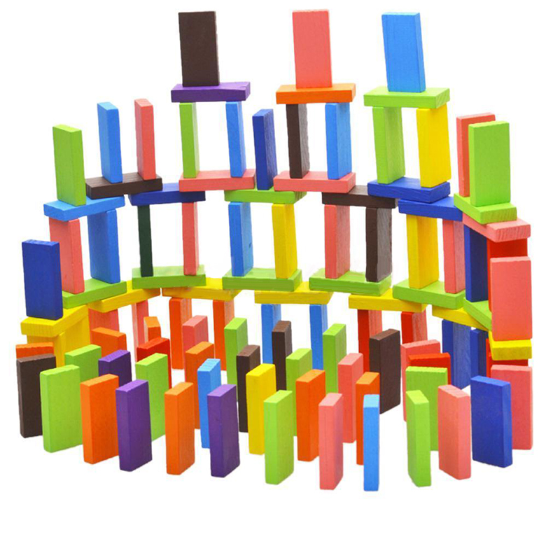 100Pcs random color Wooden Bright Tumbling Dominoes For Kids Game Toy Fun