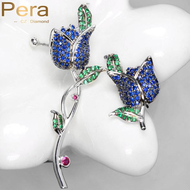 Design exclusivo Cubic Zirconia Diamante Criado Jóias Elegante Azul Royal E Verde Stone Rose Flor Para Meninas Brincos E086