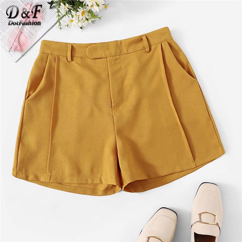 Dotfashion Solid Pocket Side Shorts 2019 Women Ginger Summer Shorts Mid Waist Pocket Casual Shorts Beach Solid Shorts