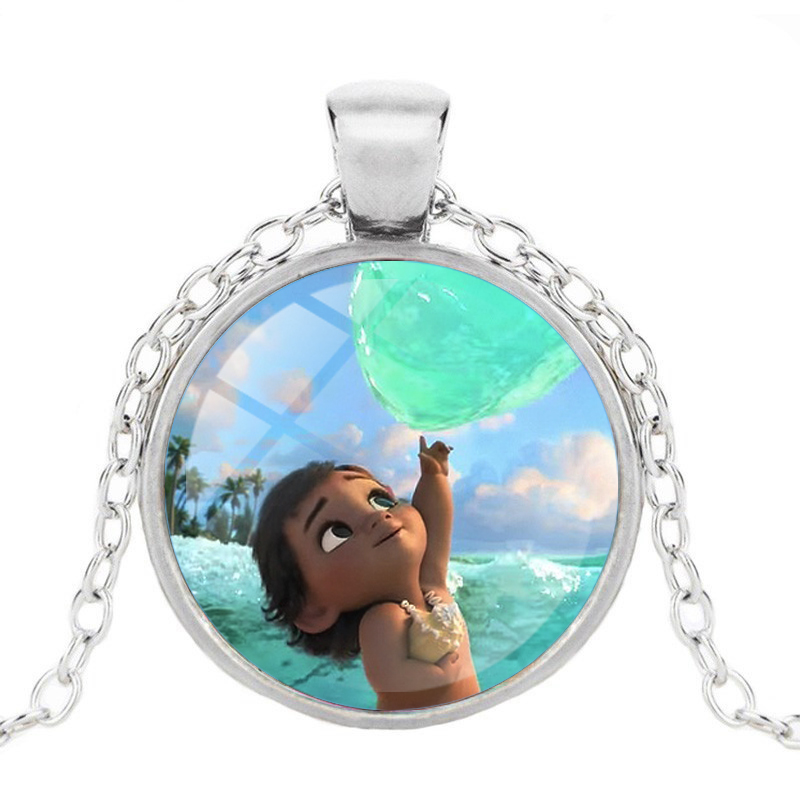 ZBOZWEI Anime Bronze Plated Jewelry with Glass Cabochon Movie Moana Pattern Choker Long Pendant Necklace for Women Wedding Gift in Chain Necklaces from Jewelry Accessories