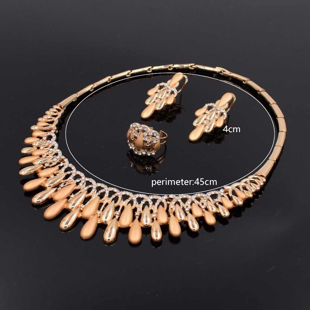Dubai Elegan Kristal Rumbai Afrika Manik-manik Perhiasan Set untuk Wanita Warna Emas Pernikahan Kalung Anting-Anting Gelang Cincin Perhiasan