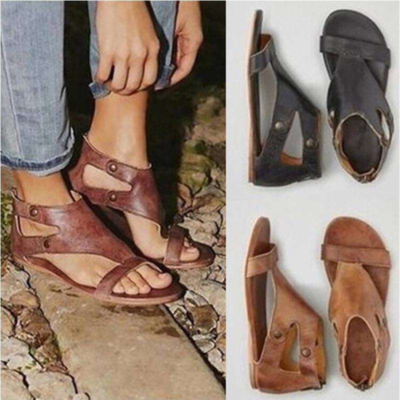 2018 Women Sandals Hot Sale Fashion Summer Sweet Women Flats Heel Sandals Ladies Shoes Black Bandages lanyuxuan sweet fashion sale new sale