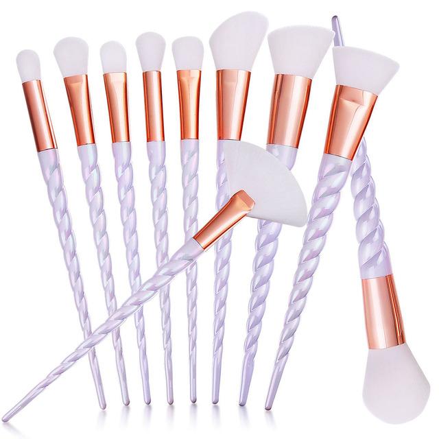 Pincéis de Maquiagem profissional 10 pcs Unicórnio Conjunto Alça Espiral Olhos Rosto Blush Em Pó Escova Cosmética Ferramentas Kit Branco Macio Cabelo