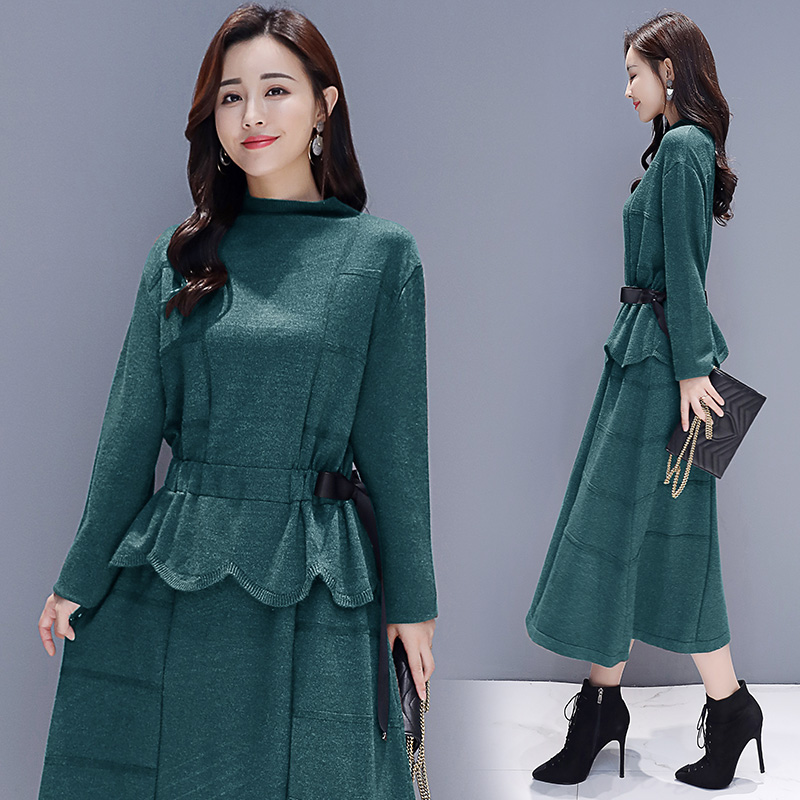 Green Robe Haute A Ruches Hiver Femmes Femme black Robes ligne Chaud Roulé coffee Taille dark 2018 Vintage navy Élégant Wrap Moitié Beige qFZxqfR