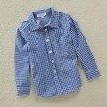 Para 2-7 anos de idade Meninos. Xadrez do Menino Camisas de Algodão, Nova Chegada da Primavera 2015 Crianças Meninos camisas