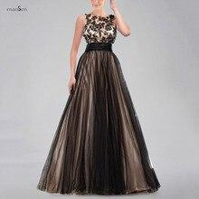 Elegante Scoop Neck Straps V Zurück Abendkleider mit Schwarzen Applikationen Mieder und Goldene Tüll Rock 2016 Ballkleid Kleid