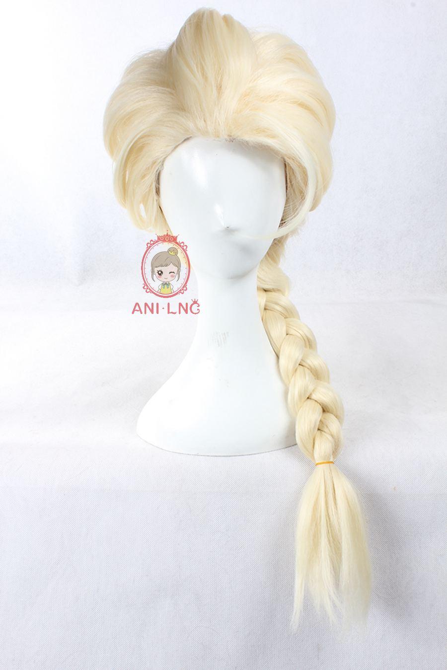 Image 2 - Anilnc Замороженные Принцесса Эльза Косплей парики длинные прямые светлые волосы парик для женщин