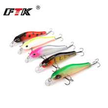 FTK Fishing Lure Kit Minnow 5pcs/lot Jig Head 3D Eye Fish Swim Bait Tackle Set Bass Hard 80mm 6g Wobbler HB