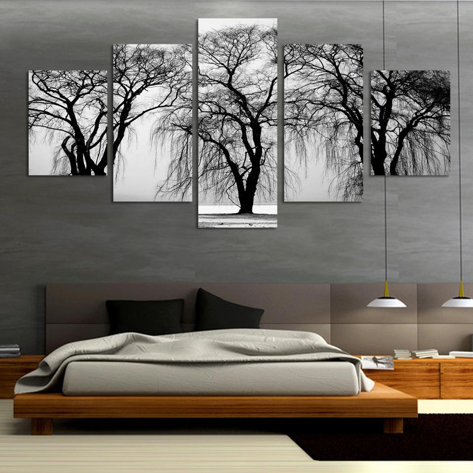moda unids paisaje abstracto leo moderna pintura de la lona para saln blanco y negro
