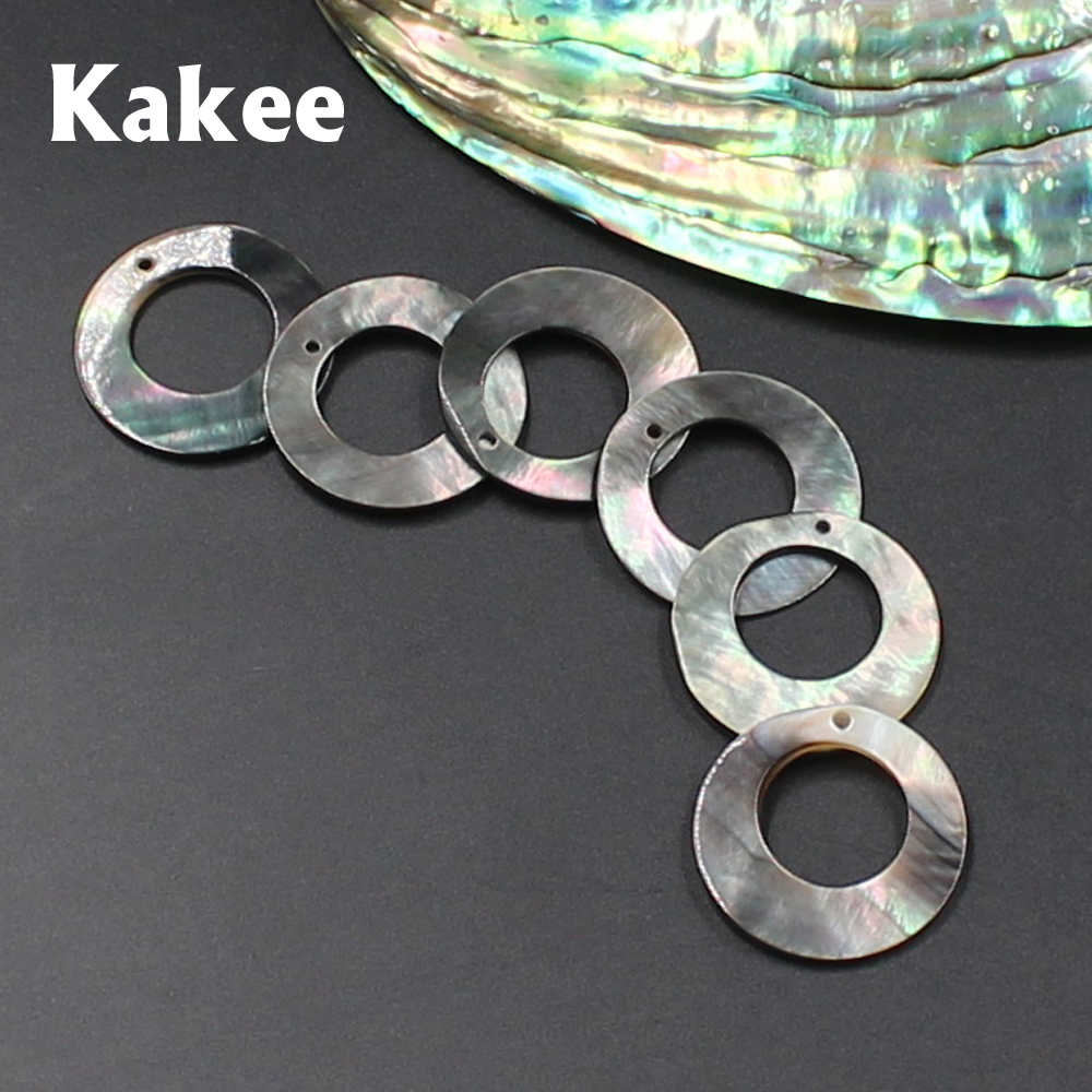Kakee Natural Mother Of Pearl Black Charms Round Shell Beads For Jewelry Making DIY Fashion Earrings Necklaces Accessories
