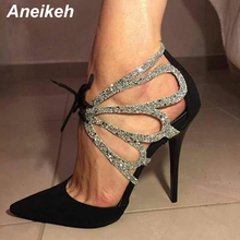 Aneikeh 2019 Summer Shoes Woman Pumps High Thin Heels Pointed Toes Rhinestone Butterfly Bling Gladiator Pumps Party Sexy Shoes