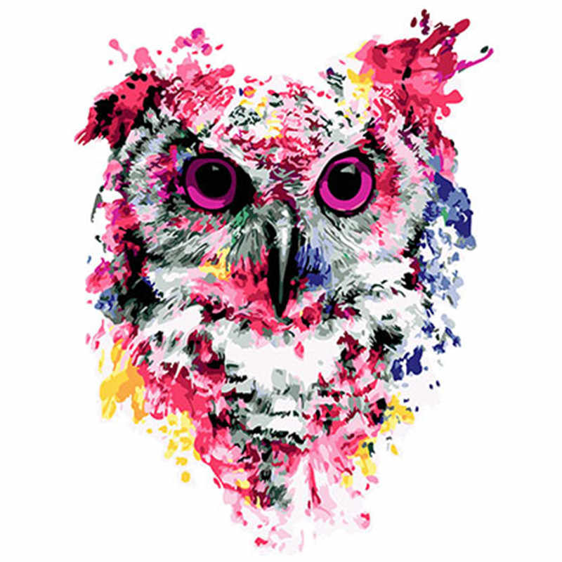 Colorful Owl Framed Pictures DIY Painting By Numbers DIY Oil Painting On Canvas Home Decoration Wall Art GX26136 40X50CM