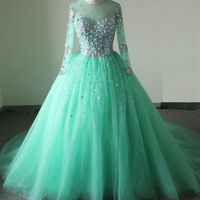 Sheer full sleeve turquoise ball gown wedding dresses 2017 sheer full sleeve turquoise ball gown wedding dresses 2017 sweetheart crystals beaded tulle puffy bridal gowns real samples in wedding dresses from weddings junglespirit Gallery