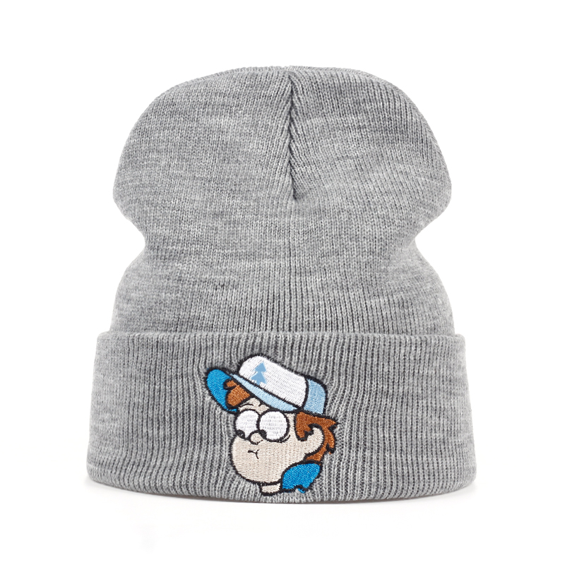 Dipper Pines Beanie Hat Gravity Falls Embroidery Winter Knitted Hat Elasticity Cartoon Image Warm Outdoors Skullies Beanies Cap