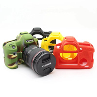 Soft Silicone Rubber Camera Protective Body Cover Case Skin For Canon 6D Camera Bag Black Camouflage