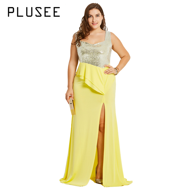 US $41.5 30% OFF|PLUSEE High Quality Sleeveless Sequined Long Maxi Dress  Yellow Floor Length Split Party Dresses Plus Size XL 4XL -in Dresses from  ...