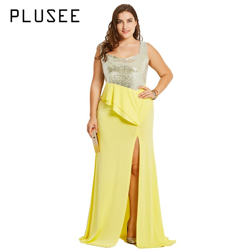 PLUSEE High Quality Sleeveless Sequined Long Maxi Dress Yellow Floor Length Split Party Dresses Plus Size XL 4XL