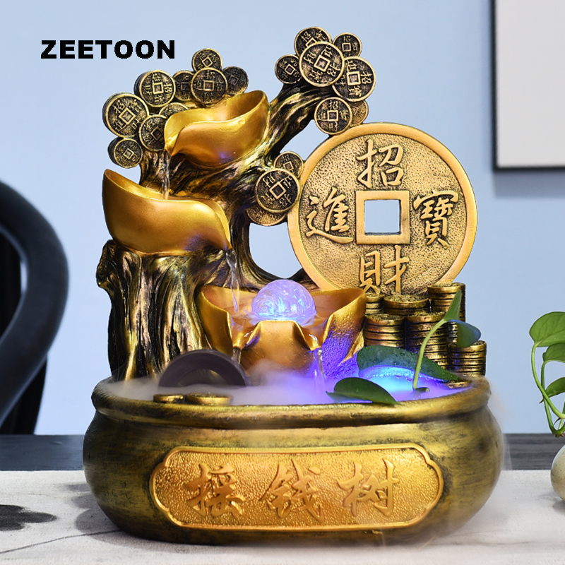 110 V-220 V argent arbre fontaine d'eau résine naturelle Feng Shui boule de cristal Waterscape bureau bonsaï maison chanceux décor parure