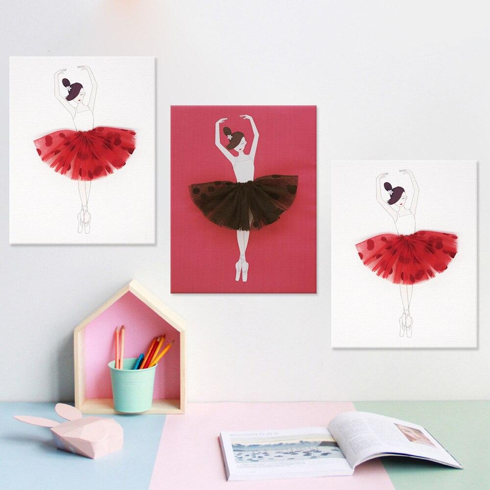 Ballet filles triptyque frais et bref décoratif peinture murale saint valentin présent danseur canapé fond cadre intérieur