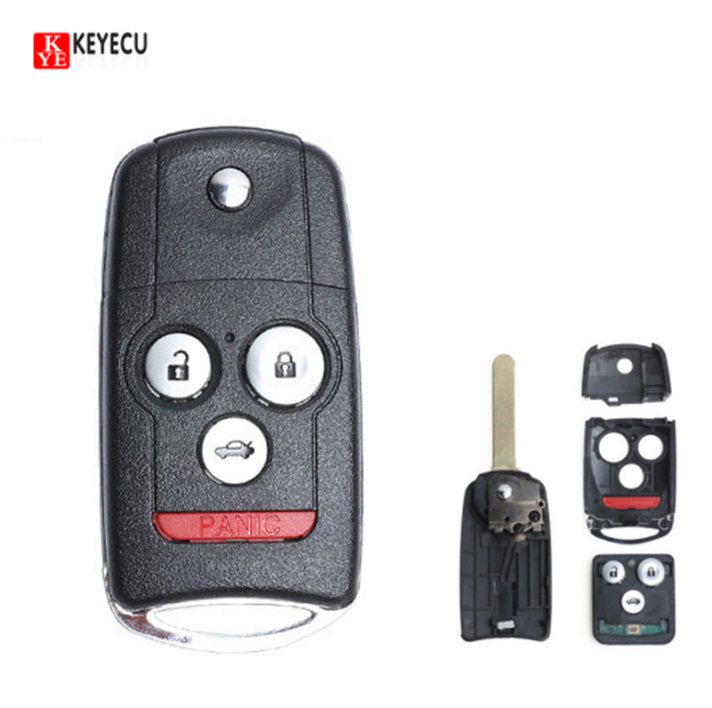 Keyecu New Flip Folding 4Button Replacement Remote Key Fob